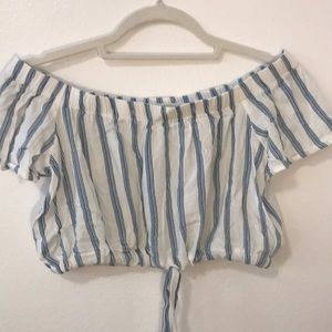 Pacsun off the shoulder blue and white crop top